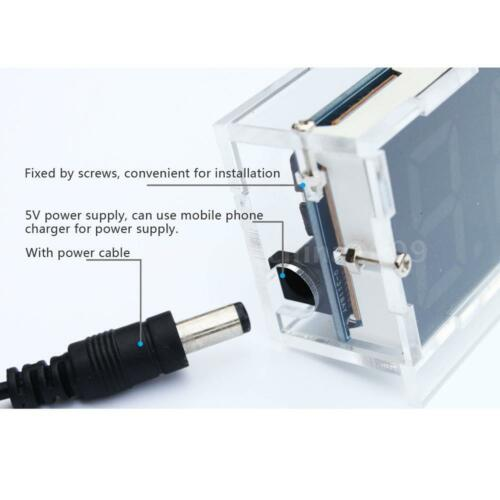 4-digit LED Digital Desk Clock Electronic DIY Kit Light Control Time With Case