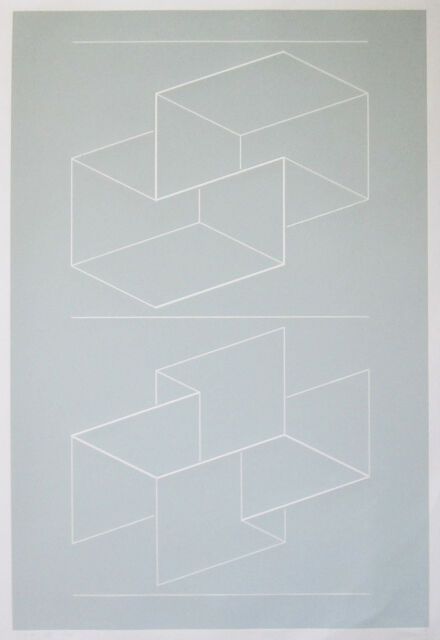 """JOSEF ALBERS Signed 1971 Color Line-cut Embossing """"White Embossing on Gray VIII"""""""