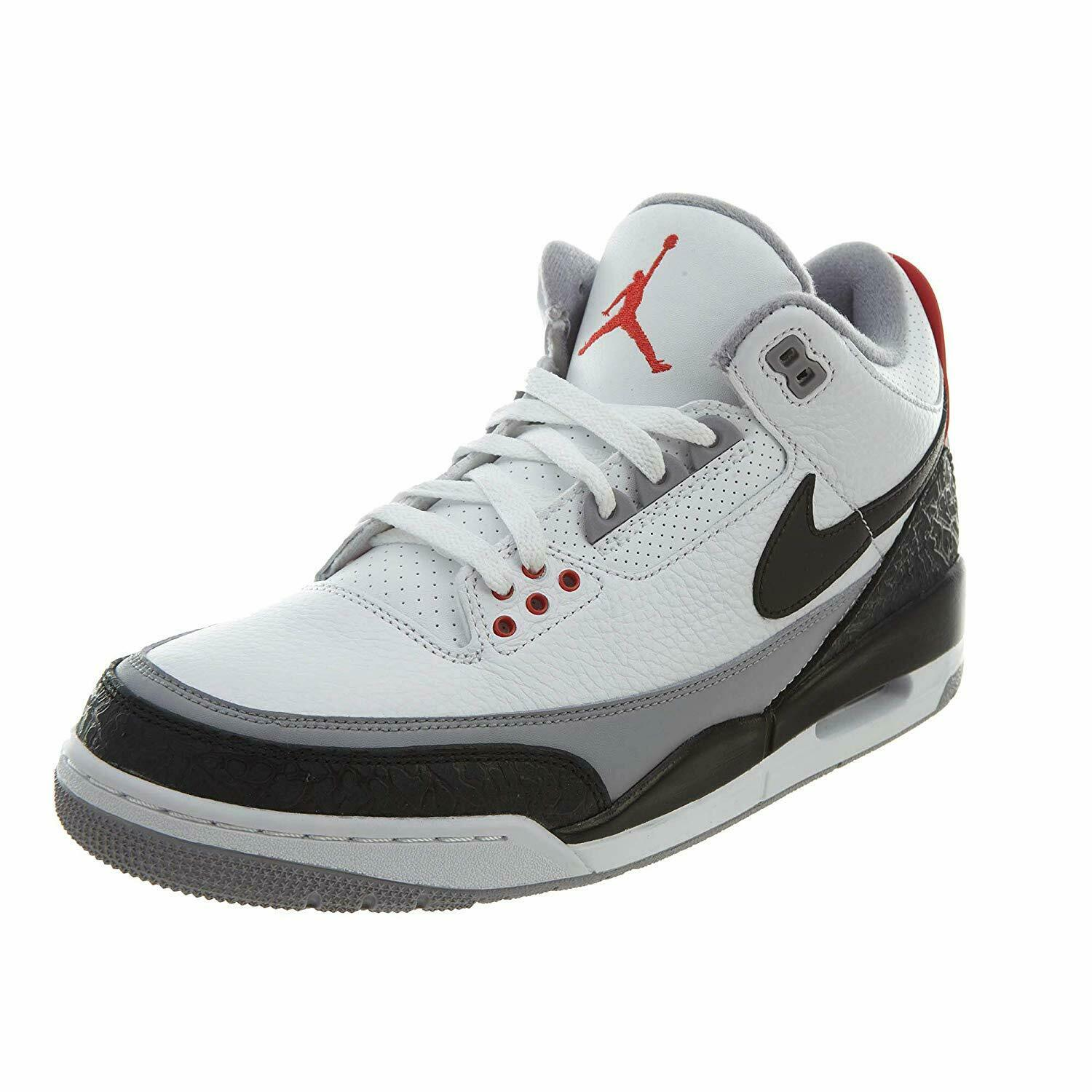 AIR JORDAN MENS 3 RETRO NRG TINKER SNEAKERS AQ3835-160 WHT RED GRY BLK 11
