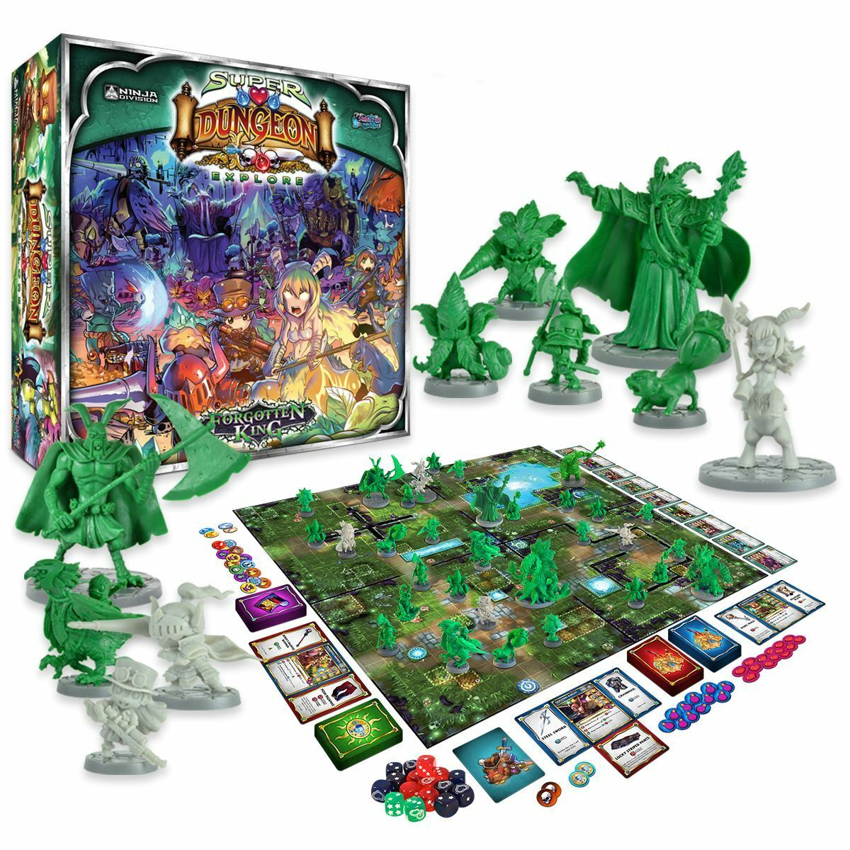 New Super Dungeon Explore Forgotten King Board Game Soda Pop Miniatures Official