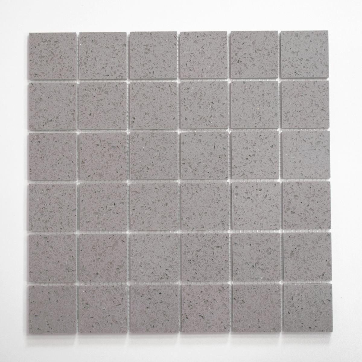 Mosaik Fliese Quarz Komposit Kunststein Artifical grau   46-ASM43_f 10Matten