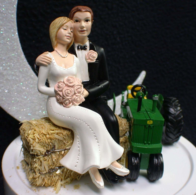 Tractor John Deere Country Western Wedding LOT Cake Topper Topper Topper Glasses Knife Book 41840e