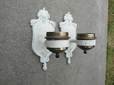 RARE PAIR ANTIQUE VINTAGE 1925 WHITE SHABBY CHIC COTTAGE WALL SCONCE LAMP LIGHT