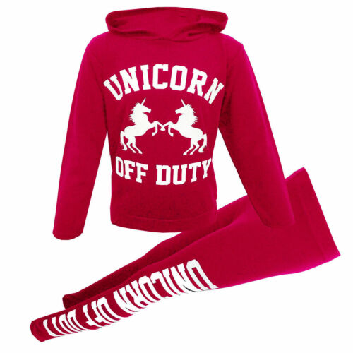 Girls Hooded OFF DUTY UNICORN Top /& Legging Set Kids Outfit Age 7-13 Years