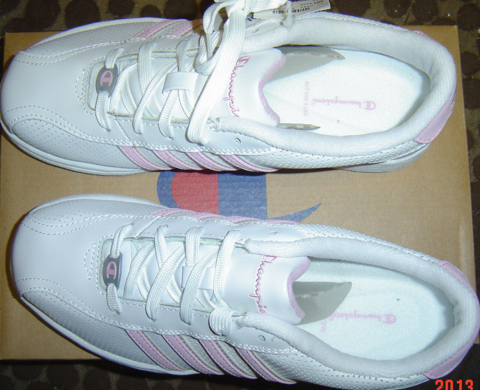 12X WHOLESALE Lot CHAMPION femmes Chaussures TENNIS Gym SZ 5 - 7 rose blanc LEATHER