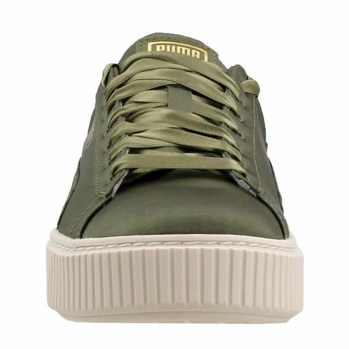 Puma Women 365719-03 Basket Platform Satin Green Fashion Sneakers Size 9