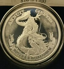 1 OZ .999 SILVER SHIELD PROOF dollar Dragon death of the dollar end the fed rare