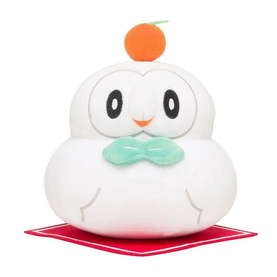 Pokemon Center 8  20Cm New Year White Snow Rowlet Soft Stuffed Plush Toys Doll