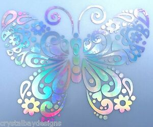 Butterfly Flower Fancy Rainbow Holographic Car Decal Sticker Laptop Window 15 95 Ebay