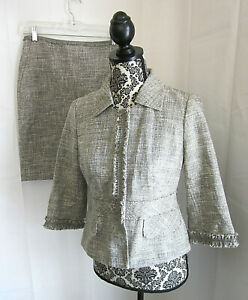 ANN-TAYLOR-Women-039-s-Brown-Ivory-Tweed-Silver-Accent-Skirt-Suit-Sz-2-NWT-338