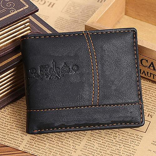 EG/_ Men Faux Leather Bifold Wallet Credit ID Card Receipt Holder Coin Purse Braw