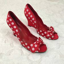 Pin Up Heels Wedge Red Polka Dot Satin Couture Sexy Vtg Bows Peep Toe SZ 10 Nwt