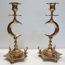 Paire de Beaux BOUGEOIRS Anciens en Bronze - Décor Croissants de Lune