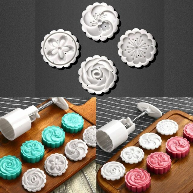4Style Stamps 50g Round Flower Moon Cake Mold Mooncake Decor Cookie Cutter x