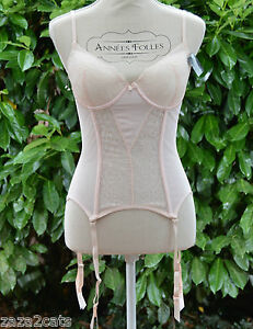 Femme-GUEPIERE-Sexy-Dentelle-overbust-Serre-Taille-Corset-Bustier-Rose-85C-CLEA