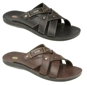 MENS-LEATHER-LOOK-SLIP-ON-BEACH-MULE-SANDAL-BLACK-amp-BROWN-ONLY-5-99