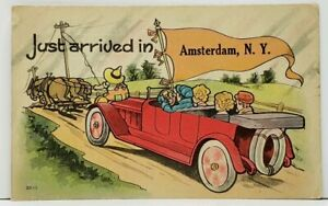 Just-Arrived-in-AMSTERDAM-N-Y-Horses-Pulling-Automobile-Postcard-I15