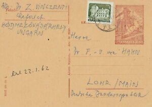 Magyar-Posta-1962-Postkarte-verschickt-aus-Ungarn-nach-Lohr-interessanter-Text