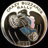 Crazy Buzzards rally. Motorbike Enamel Pin Badge 1996