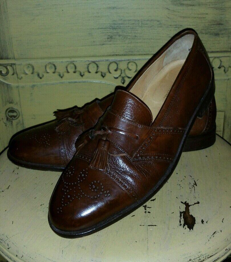 Johnston & Murphy Marrón Cuero Puntera Borla Mocasines Sin Cordones Zapatos 9.5 M Italia