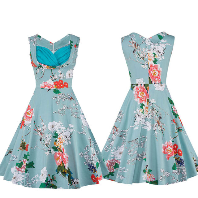 Vintage New Women's 50s 60s Retro Floral Rockabilly Housewife Party Swing Dress
