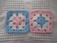 20-4 Granny Squares Blocks 4 Afghan, Afghanspastel+blue & White & Pink Crochet