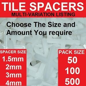 Tile spacers choose your size 15 2 3 4mm packs 50 100 500 image is loading tile spacers choose your size 1 5 2 ppazfo