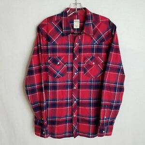 AG-Adriano-Goldschmied-Mens-Plaid-Pearl-Button-Front-Flannel-Shirt-Medium-I210