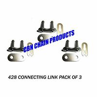 428 Connecting Master Link Motorcycle Atv Go Kart Pro-grade Pack Of 3