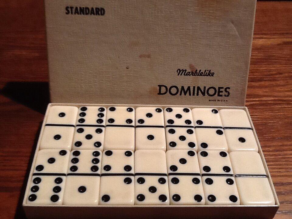 Vintage Dominoes White Bakelite in Box Marblelite