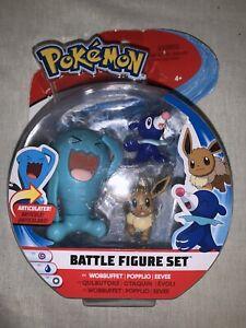 Wobbuffet Popplio /& Eevee ~ NEW SEALED Pokemon Battle Figure Set
