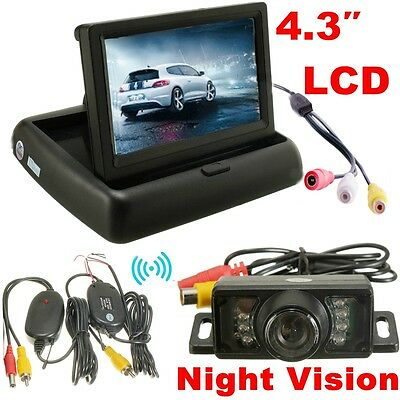 "4.3"" LCD TFT Car Foldable Monitor Wireless Rearview Parking Reversing Camera Kit"