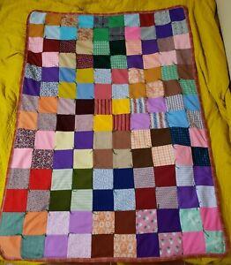 Multi Color Circles on Brown Background Vintage Patchwork Afghan