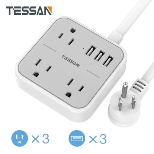 Desktop Compact Size Power Strip with USB Ports Flat Plug and 5ft Extension Cord