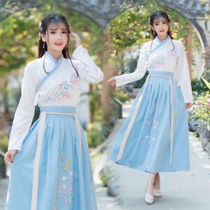 Chinese Traditional Women Embroidered Hanfu Dress Cross Collar Runqun Hanfu Ebay