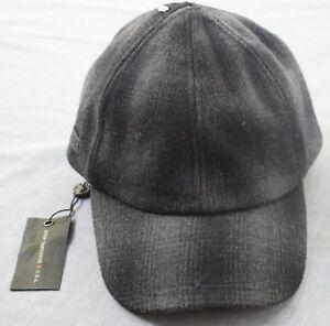 John-Varvatos-Star-USA-Logo-Black-Gray-Plaid-Wool-Adj-Leather-Cap-Hat-NWT-S-M