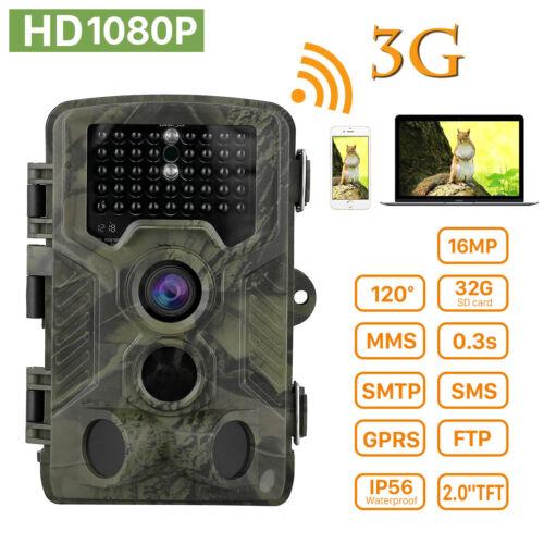 3G Wildkamera Jagdkamera SMS MMS GPRS 1080P 16MP Fotofalle IR Nachtsicht 2G IP56