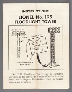 PHOTOCOPY NO 395 FLOODLIGHT TOWER LIONEL INSTRUCTIONS O SCALE