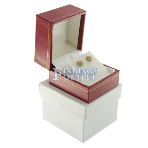 Red Faux Leather Stud Earring Box Display Jewelry Gift Boxes Classic 1 Dozen