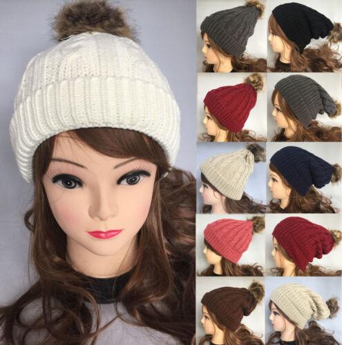 Braided Crochet Knit Beanie Beret Ski Ball Cap Baggy Womens Winter Warm Hat 3989