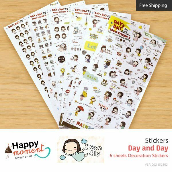 Day and Day Stickers Diary Scrapbook Deco Calendar Label Crafts 6 sheets