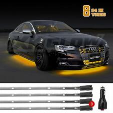Amber 8pc 24in tubes Single Color LED Car Truck Underglow Neon Accent Light Kit