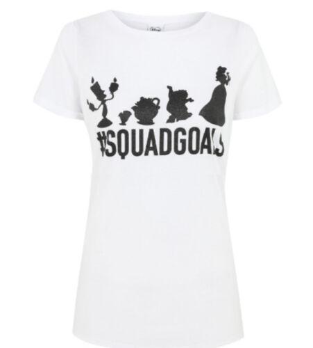 Beauty /& the Beast #Squad Goals Ladies Glitter Disney Character t shirts