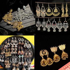 Gold-Silver-Indian-Bollywood-Women-Jhumka-Earring-Traditional-Set-Ethnic-Jewelry