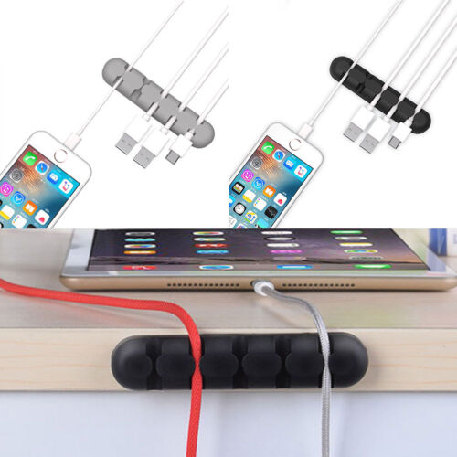 Silicone Desktop Charge Cable Cord Line Storage Organizer Wire Tie Holder Clips