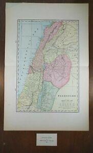 Vintage-1902-PALESTINE-Map-14-034-x22-034-Old-Antique-Original-ISRAEL-HEBRON-JERICHO