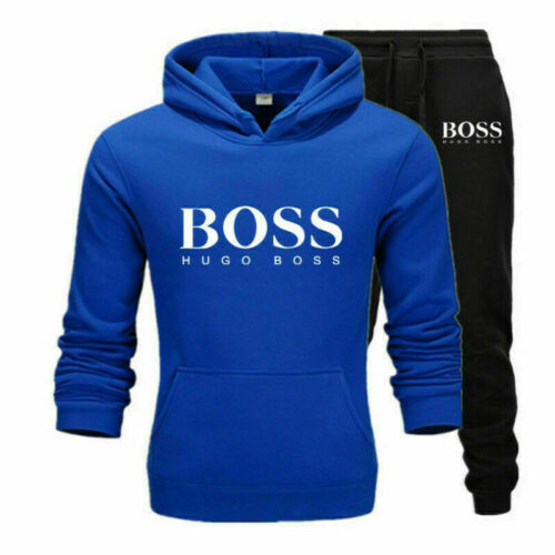 Blau Herren Kapuzenpullover Hoodie Jogging Hose Trainingsanzug Anzug Sportanzug