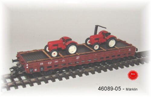 Märklin 46089-05 Rungenwagen RR 20 della DB con carico con 2 TRATTORI #neu in OVP #
