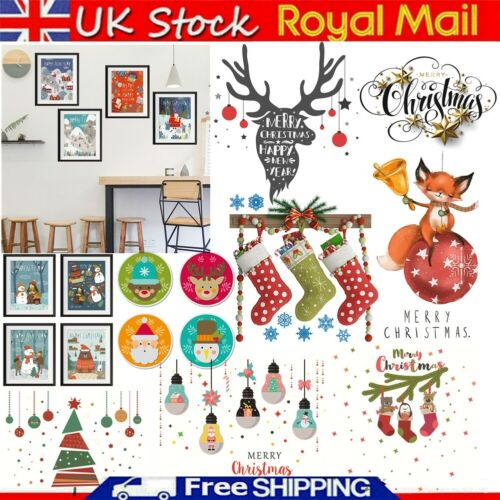 1//4pcs Merry Christmas Wall Stickers Elk Self-adhesive PVC Removable Home Decals