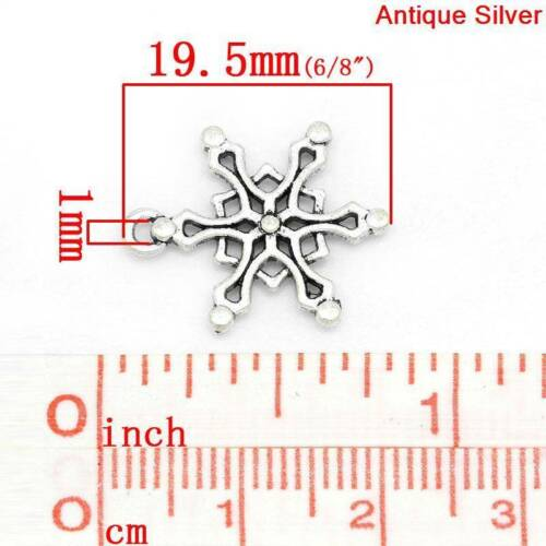 100 Snowflakes Antique Silver tone Metal Charms Pendants 19.5mm x 16mm snowflake